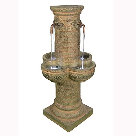 Ordinaire Sunnydaze Old World Roman Water Fountain With LED Lights 39 Inch Tall