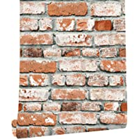 """HaokHome 22071 Realistic Faux Brick Wallpaper Orange Red/Grey/White For Home kitchen Decor 20.8""""x 31ft"""