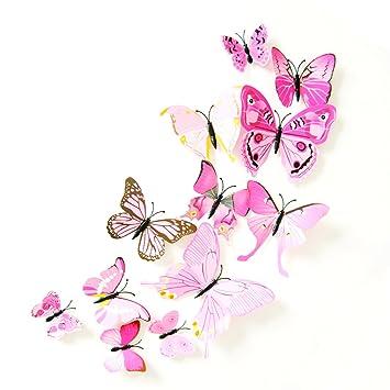Oblique Unique 3d Schmetterlinge Blumen 12er Set Dekoration
