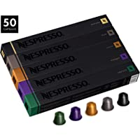 Nespresso OriginalLine Variety Pack Capsules, 50 Count Espresso Pods, Assorted Dark and Medium Roasts, 5 Coffee Flavors Include Roma, Capriccio, Livanto, Arpeggio & Ristretto
