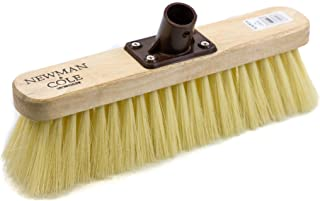 Newman and Cole 12' Wooden Broom Head with Soft Synthetic Bristle Replacement Wooden Broom Head - Kitchen Broom Indoor Soft Bristle Broom Floor Sweeping Brush with Plastic Fixing Bracket Connector