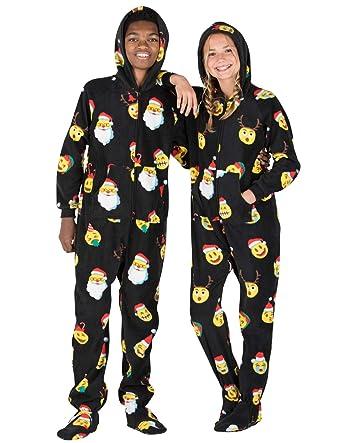 Amazon.com  Footed Pajamas - Merry Emoji Xmas Kids Hoodie Fleece ... 3365c5d6b