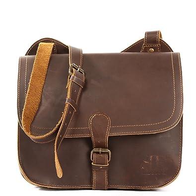 Leconi Petit sac à bandoulière Sac d épaule Sac de loisirs Femmes Hommes Vintage  Cuir 520d5e378898