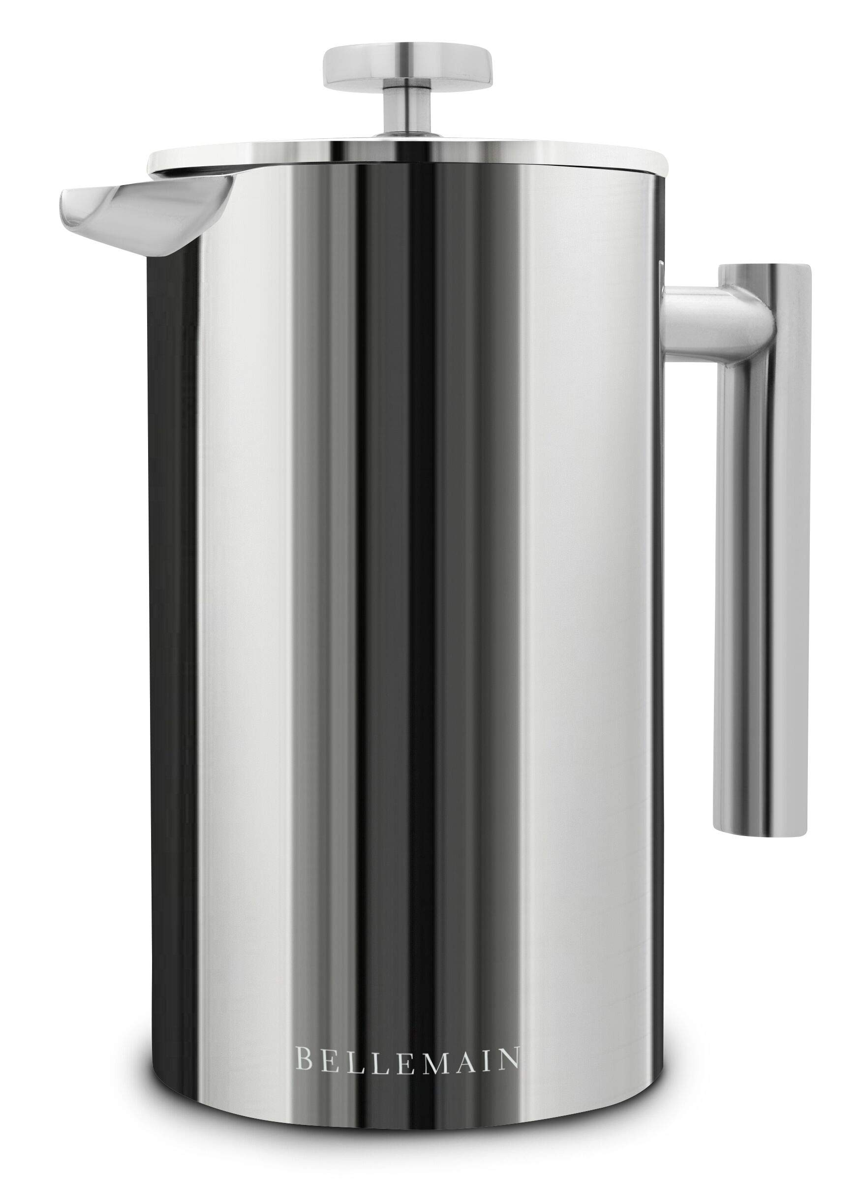 Bellemain French Press - Extra Filters Included - Coffee and Tea Maker - Stainless Steel - 35 fl. oz ( 1 Liter). - 2-Year Warranty by Bellemain