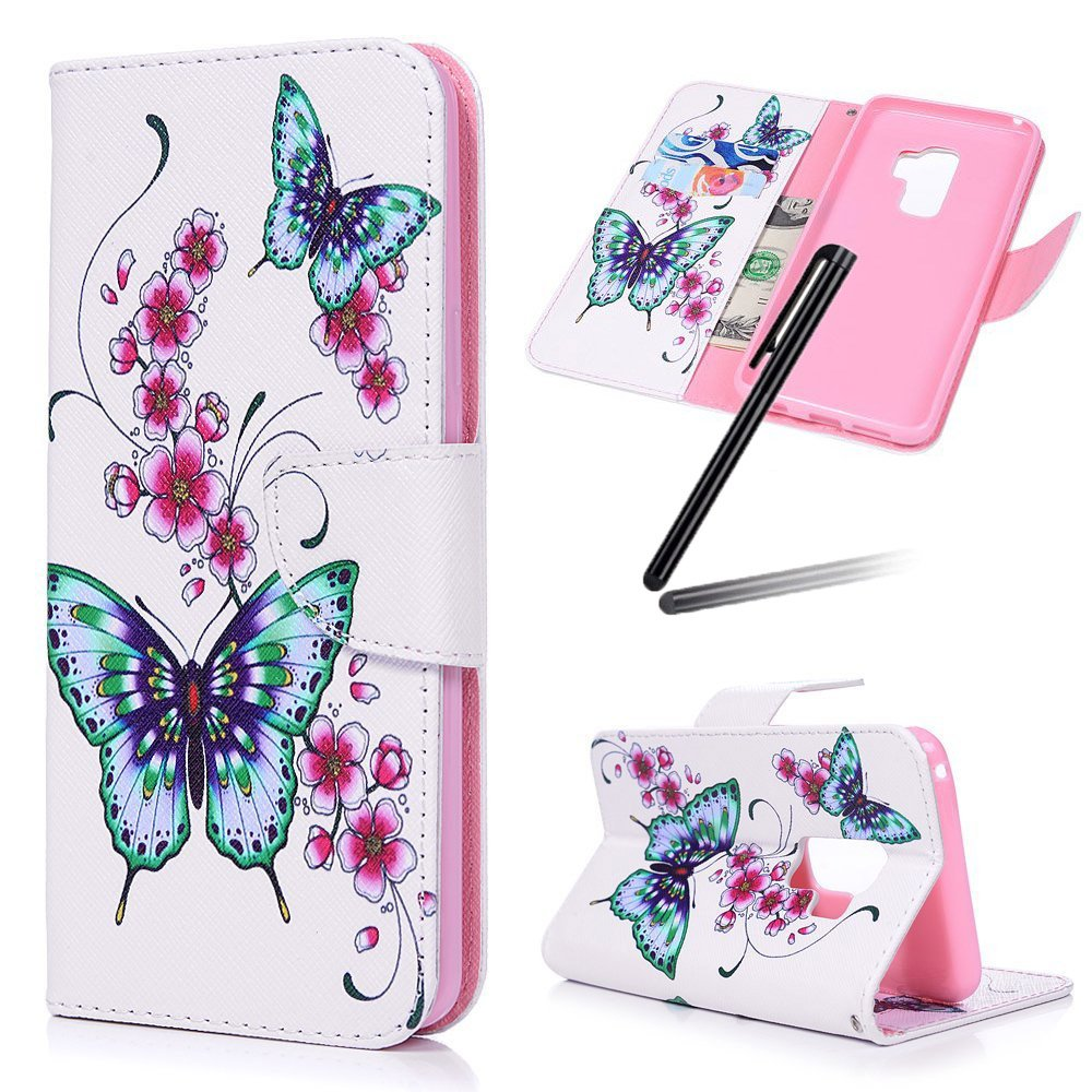 S9 Plus (2018) Case, Samsung Galaxy S9 Plus Wallet Case, Galaxy S9 Plus Kickstand Case, SKYMARS PU Leather Shock Absorbing Bumper 3D Art Painting Kickstand Cards Slot Wallet Magnet Stand Flip Folio Cover Case for Samsung Galaxy S9 Plus (2018) Two butterfly