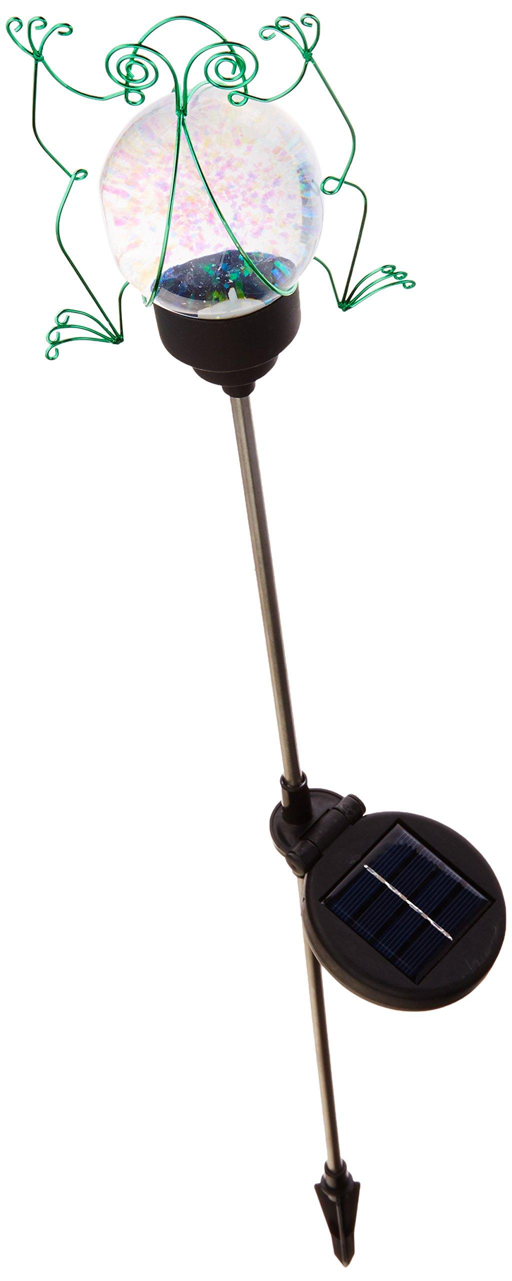Russco III GS134509 Solar Powered Water Globe Garden Stake, Green Frog