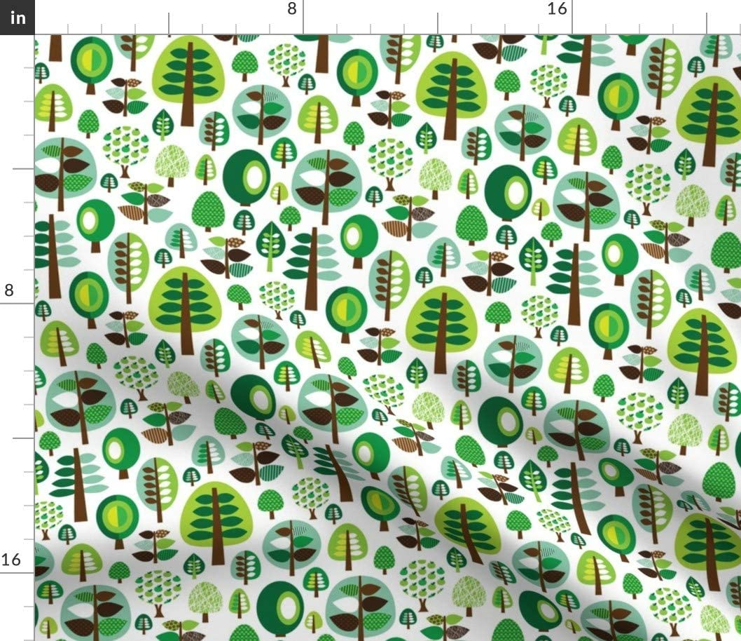 Spoonflower Fabric - Retro Green Nature Tree Leaf Forest Pattern Illustration Apples Printed on Fleece Fabric by The Yard - Sewing Blankets Loungewear and No-Sew Projects