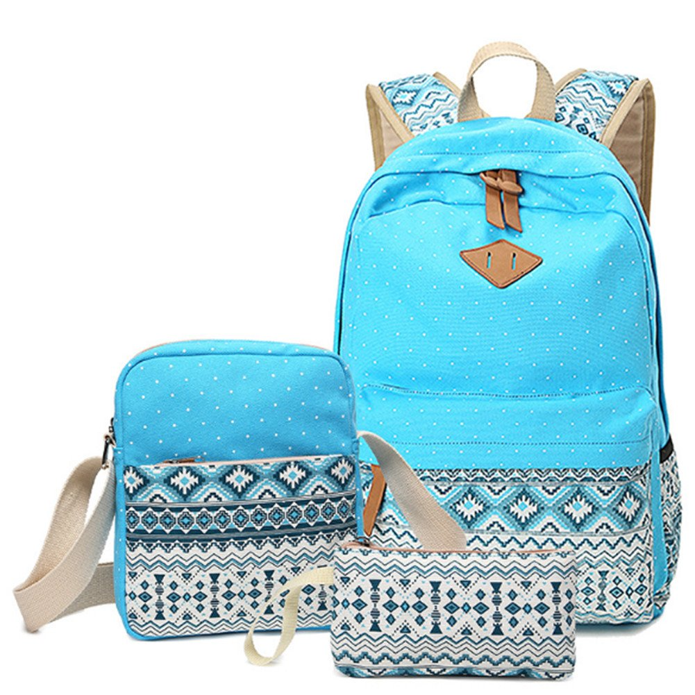 Amazon.com | Katech Canvas Backpack Set 3 Pieces, Casual School Backpack Stylish Lightweight Shoulder School Bags for Women Teen Girls | Kids Backpacks