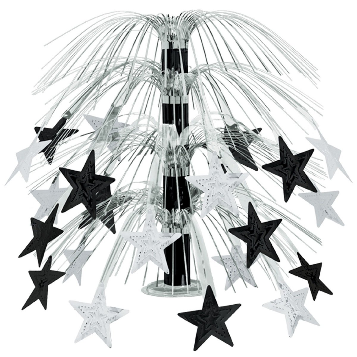 Club Pack of 6 Black and Silver Cascade Star Cut-Out Table Centerpiece Decoration 18''