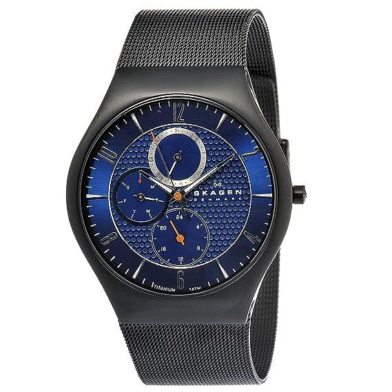 Skagen Slimline Titan 806 XLTBN - Reloj de caballero de cuarzo, correa de acero inoxidable