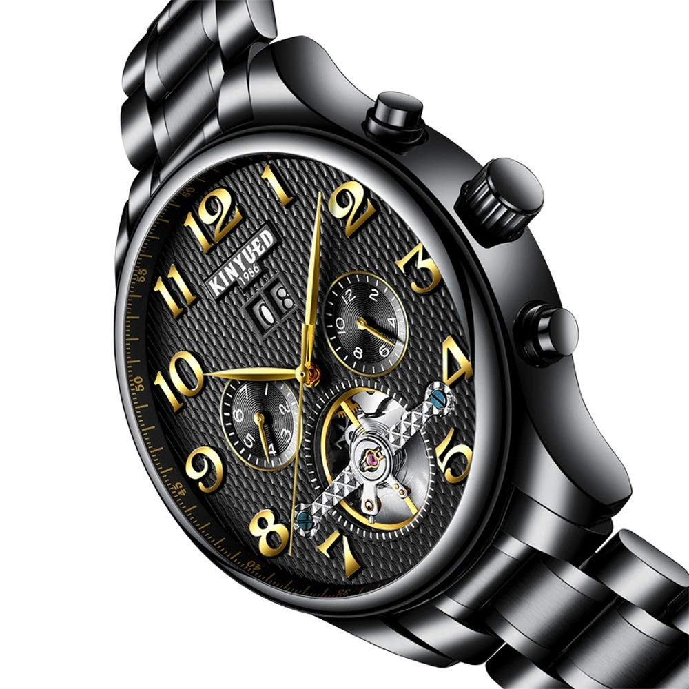 Herrklocka mekanisk klocka för män självuppdragande multifunktionell armbandsur kalender populär trendig utomhusklocka White-free