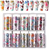 Makartt Nail Art Foil Transfer Stickers Nail Art Supplies Foil Transfers 10 Rolls Rose Flowers Nail Decals Nail Extension Gel Art Decorations for Women Poly Nail Gel DIY Design 4cm 100cm Butterfly