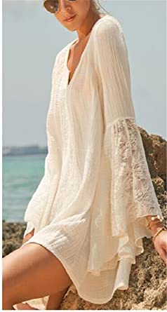 5d887cb1b3c Hippie Boho Bell Long Sleeve Gypsy Festival Casual White Plus Size Loose  Lace Mini Dress Creamy