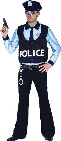 Ciao – Disfraz de Policía para adultos - Talla L - Color azul/celeste - Modelo n. 16143: Amazon.es: Juguetes y juegos