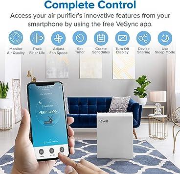 LEVOIT Purificador de aire inteligente WiFi para el hogar, habitación grande con filtro HEPA verdadero, limpiador de ...