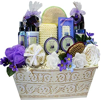 Lavender Renewal Spa Relaxing Bath and Body Gift Basket Set, Large ...