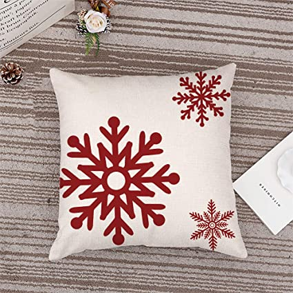 Axsl Big Red Snowflakes Pillow Cover Christmas Red Farmhouse Throw Pillow Cover Plaid Cuhion Cover Case For Couch Sofa Home Decoration Farm Christmas Pillows Linen 18 X 18 Inches Home