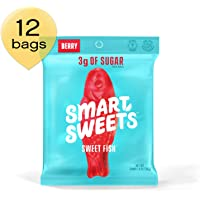 SmartSweets SweetFish 1.8 oz Bags (Box of 12), Candy with Low-Sugar (3g) and Low-Calories (80)- Free of Sugar Alcohols and No Artificial Sweeteners, Sweetened with Stevia