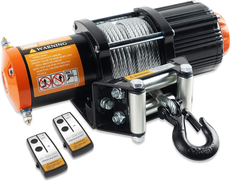 Amazon Com Orcish 12v 4500lb Electric Atv Utv Winch Kit With 2pcs