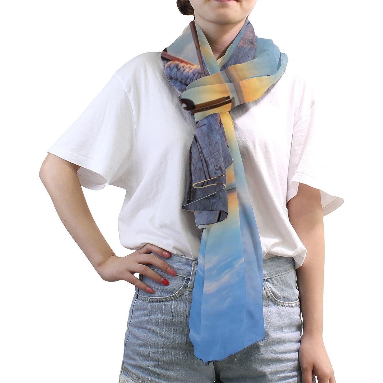 MRMIAN Sea Blue Sky Brown Petrel Casual Long Lightweight Silk Chiffon Scarf Wrap