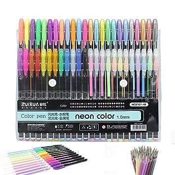 Bolígrafos de tinta de gel (48 unidades: 12 metálicos + 12 purpurina + 12