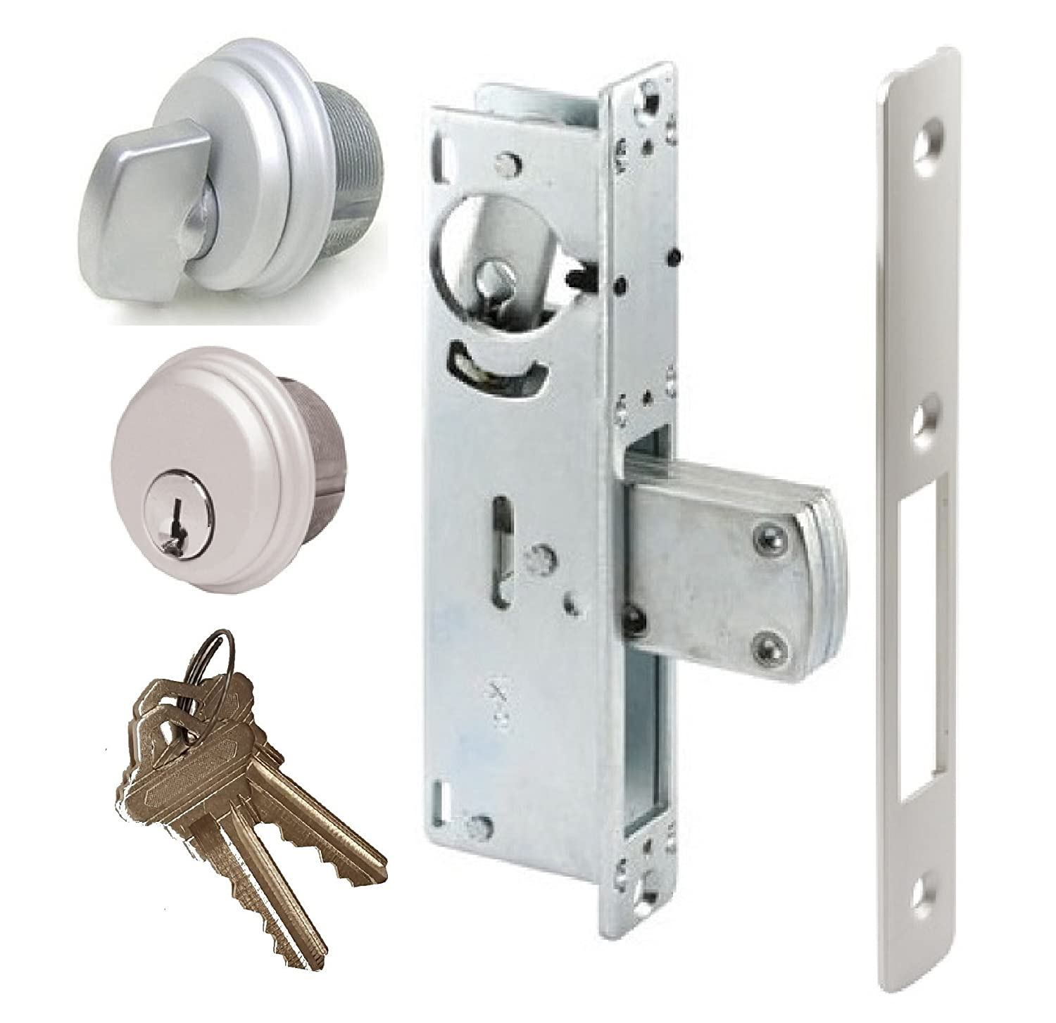 Storefront Door Mortise Lock Swing Deadbolt & Cylinder Combo, Adams Rite Cam, in Aluminum (1-1/8 Backset)