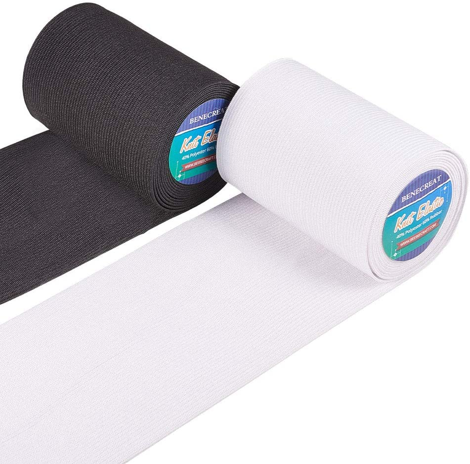 White and Black BENECREAT 20 Yards 0.78-Inch Wide Elastic Band Heavy Stretch High Elasticity Knit for Sewing