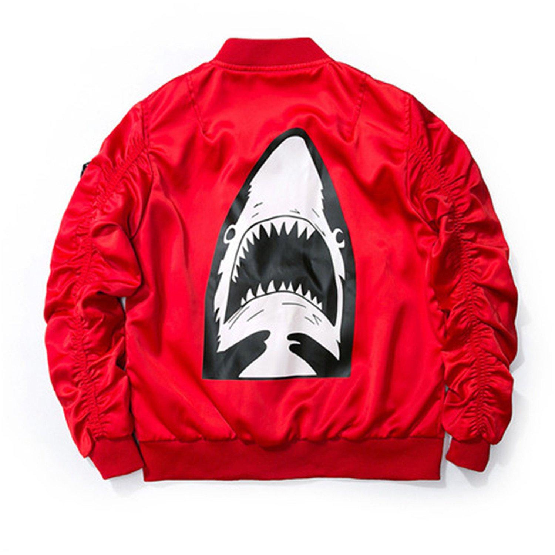 MRstriver Dropshipping New Spring Red Shark Bomber Jacket Men Streetwear