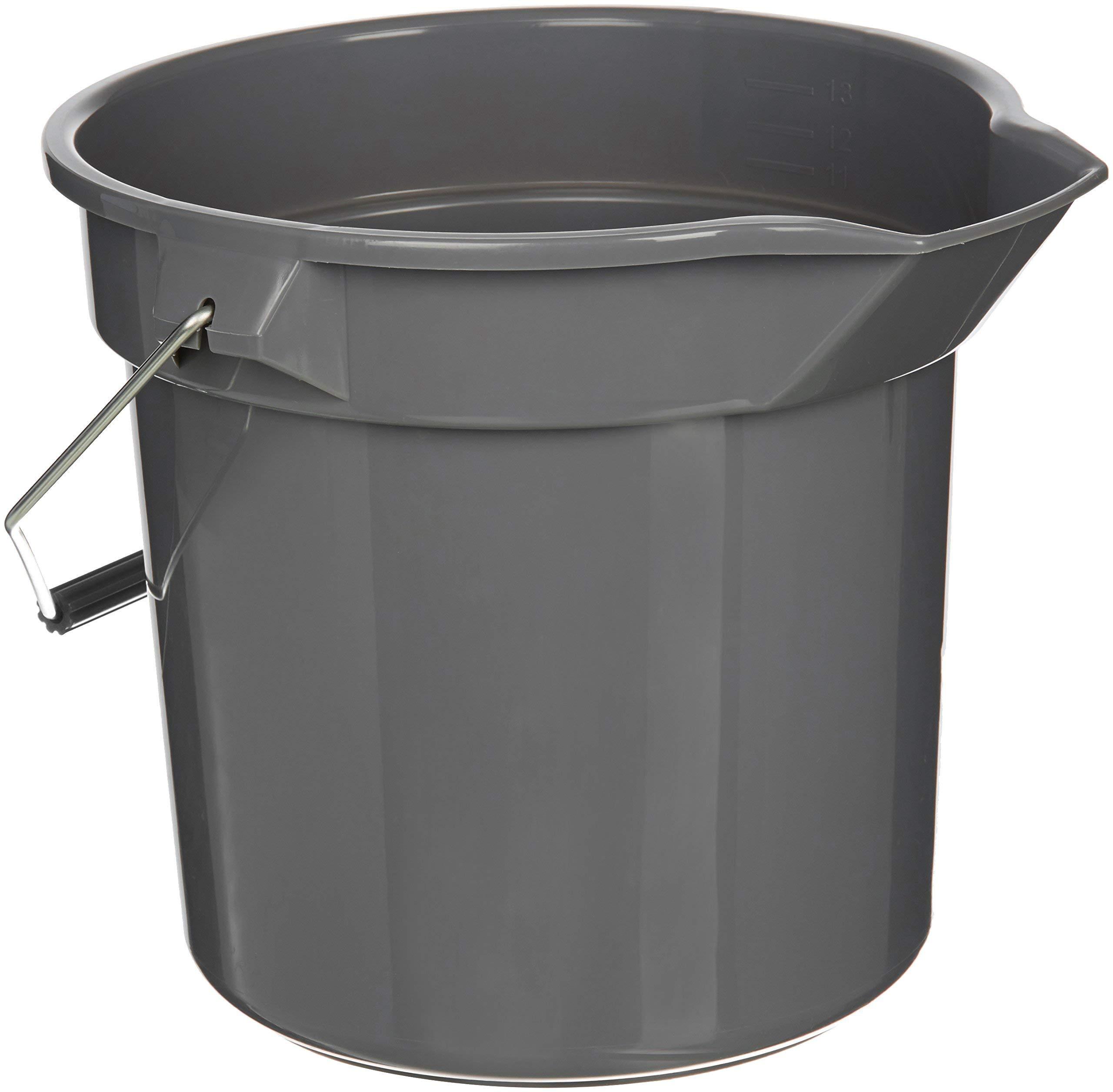AmazonBasics 14 Quart Plastic Cleaning Bucket, Grey - 6-Pack (Renewed)