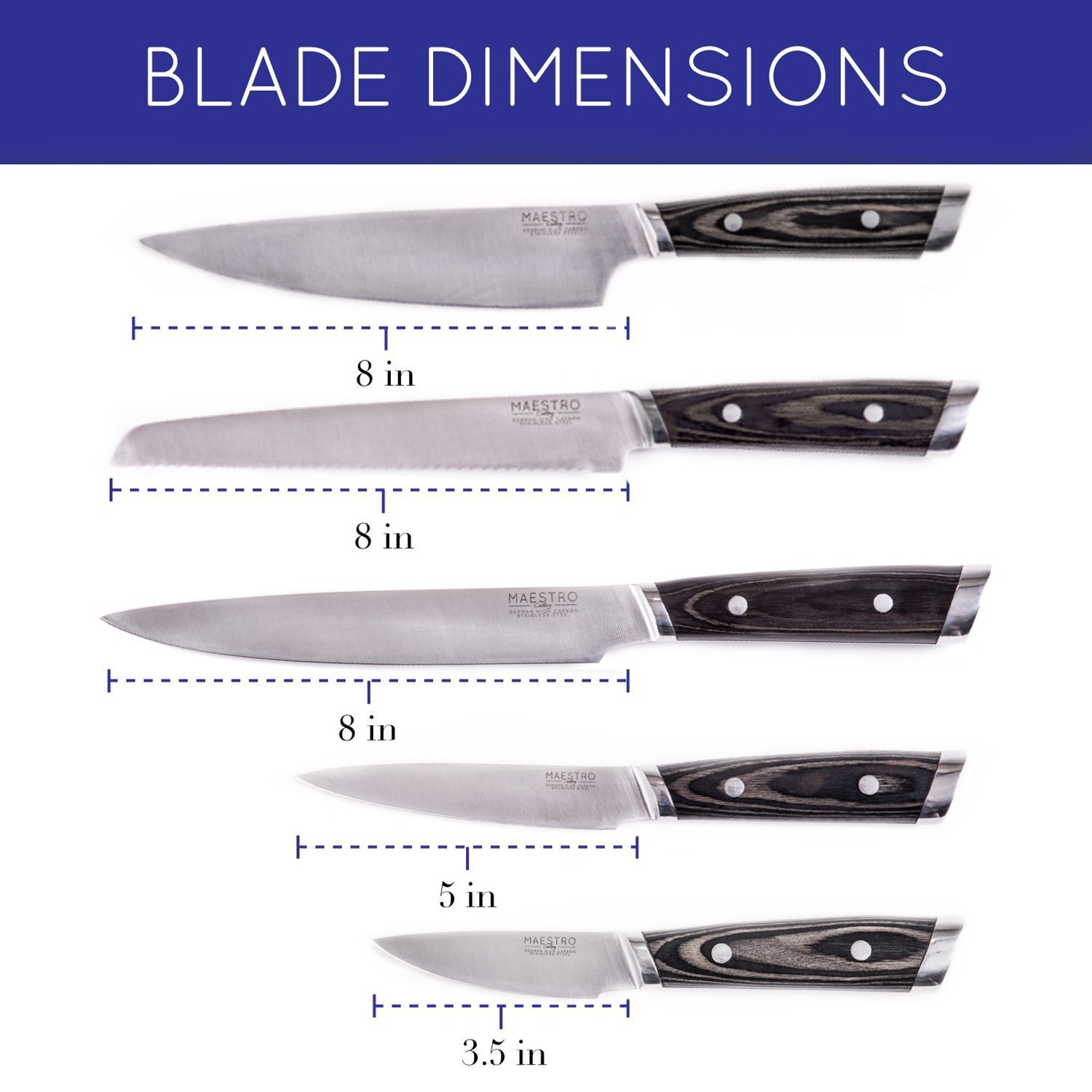"""Maestro Cutlery Volken Series German High Carbon Stainless Steel 8"""" Inch Bread Knife, 8"""" Inch Chef's Knife, 3.5"""" Inch Paring Knife, 8"""" Inch Slicing Knife, and 5"""" Inch Utility Knife with Black Wood Han by Maestro (Image #5)"""