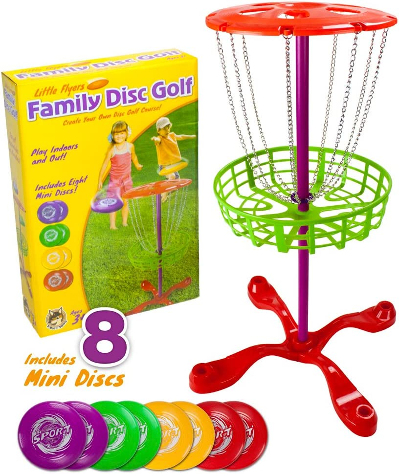 K-Roo Sports Little Flyers Family Disc Golf and Target Set | 8 Mini Discs and 25-inch Tall Basket | Kids Intro Disc Golf Toy Set | Portable Indoor/Outdoor Yard Games