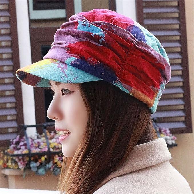 Hat mujer plus grueso terciopelo moda étnica cap cap boinas floral delgado  fue cálido 5230867390c