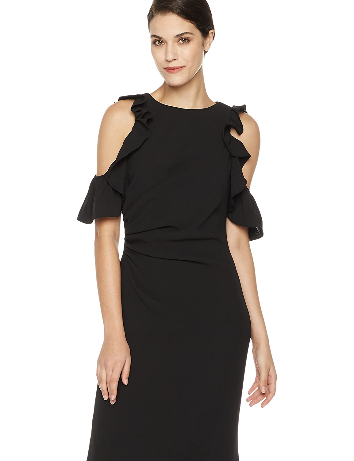 Social Graces Womens Cold-Shoulder Ruffle-Sleeve Stretch Gown with Side Slit