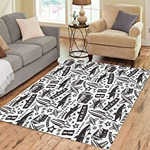 Suike Area Rugs 3'x5' Surfing Pattern Black White Black Hipster Activity Animal Athletic Beach Bus Soft Flannelette Fluffy Stain Resistant Non-Slip Carpet Elegant Floor Decor Bedroom Living Room
