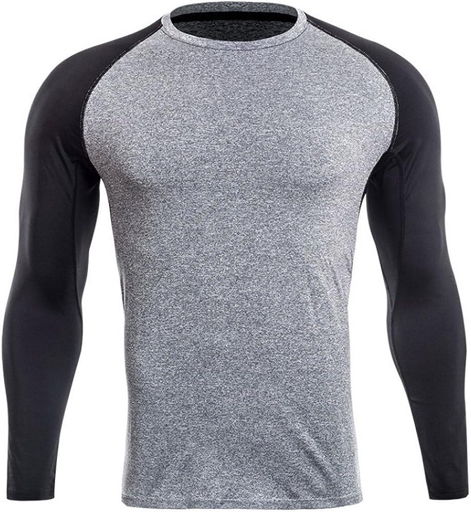 Sfit Homme T-Shirts de Compression Sport Manches Longues V/êtements de Fitness Jogging S/échage Rapide