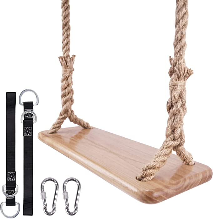 leofit Hanging Wooden Tree Swing 23.6 x 7.8 Adjustable 80 Inch Rope 40 Inch Connecting Strap Accessories for Backyard, Playground, Porch, Patio, Garden, Park, Home