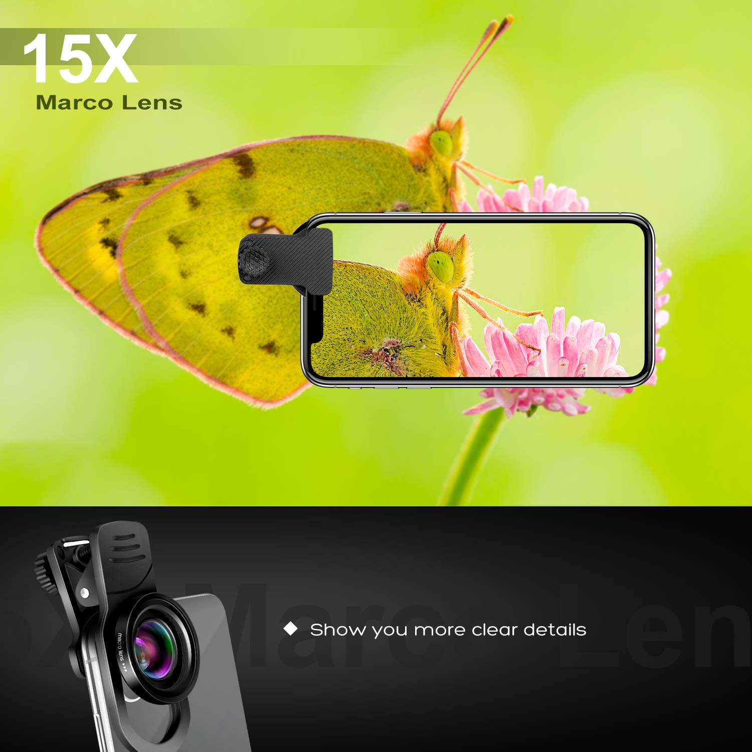 Cell Phone Camera Lens Kit – VIEWOW 4K HD 7 Optical Glasses 15X Macro 0.45X Wide Angle Phone Lens Kit with LED Light and Travel Case, Compatible with iPhone X/XS/8/7 Plus Samsung Pixel by VIEWOW (Image #6)