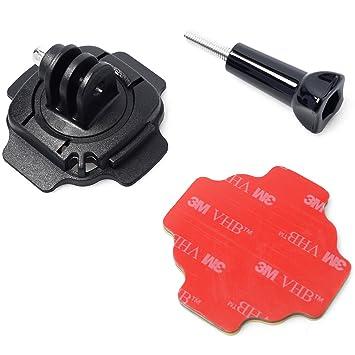 Azzuro® fijación 360 ° para casco rotativa Lock adaptador de montaje para trípode 3 m pegatina adhesiva Surface Laisse Collante tornillos para GoPro Hero 2 ...