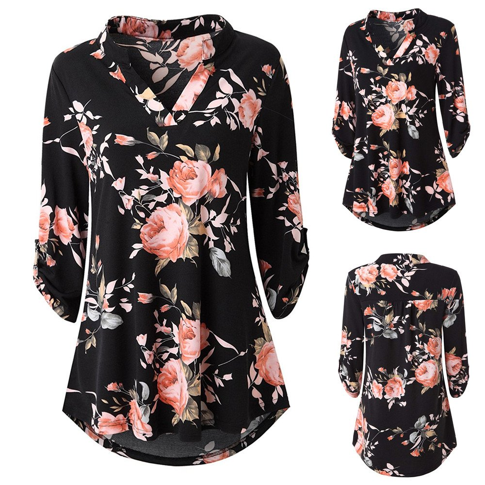 OVERMAL Tops Womens Long Sleeve Floral Printed Roll-up Top Casual Button Layered Blouses