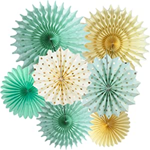 Mint Gold Party Decorations Mint Cream Gold Polka Dot Paper Fans for Trial Baby Shower Decorations Mint Gold Wedding/Mint First Birthday Bridal Shower Decorations