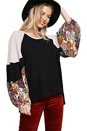 9f84f24baef5ba Umgee Women's Waffle Knit Top with Floral Print Puff Sleeves at Amazon  Women's Clothing store: