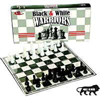 Kids Mandi Foldable Chess Set , Black and White Board Game, Comes with 14.5 x 14.5 Inches Plastic Playing Board and…