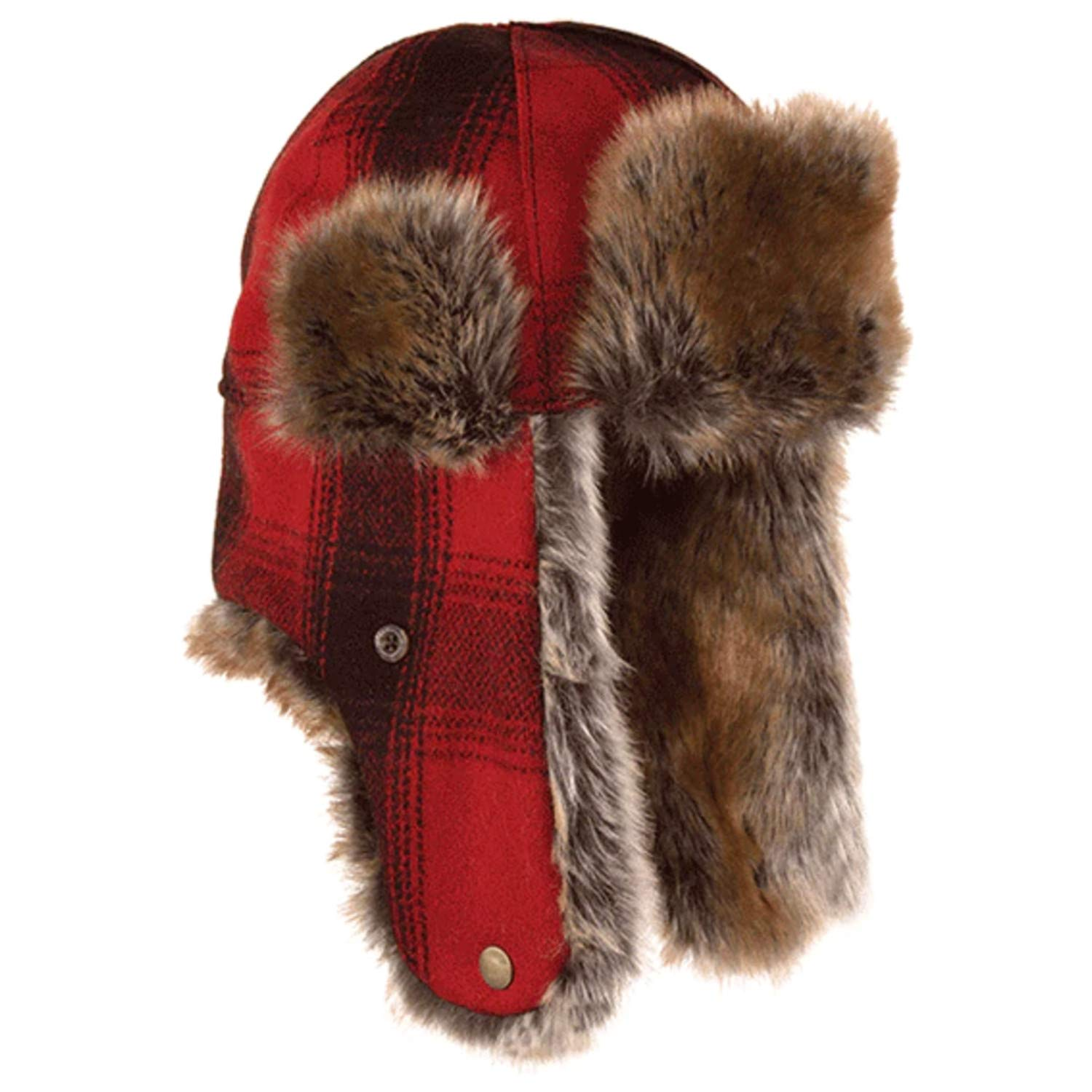 Stormy Kromer Mercantile The Northwoods Trapper Hat Red/Black Plaid, XL by Stormy Kromer