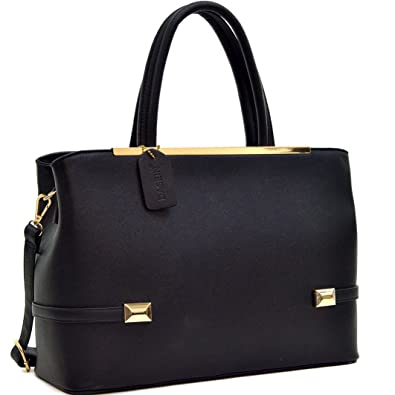 Amazon.com  Dasein Frame Tote Top Handle Handbags Satchel Leather Briefcase  Shoulder Bags Purses  Shoes db5672ef7e26a