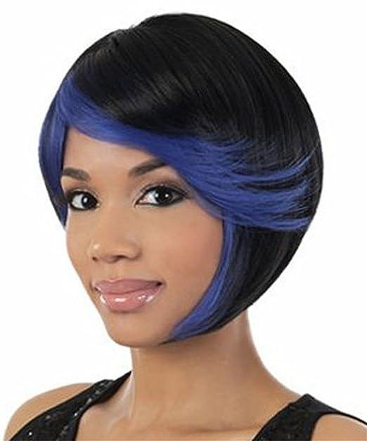 de las mujeres clásicas BOB peluca corta Negro con el azul de Bang