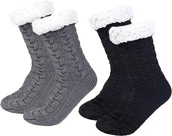 Chalier 2 pares Calcetines Mujer Antideslizantes, Calcetines Termicos Invierno Gruesos Lana Calcetines Navidad de Piso
