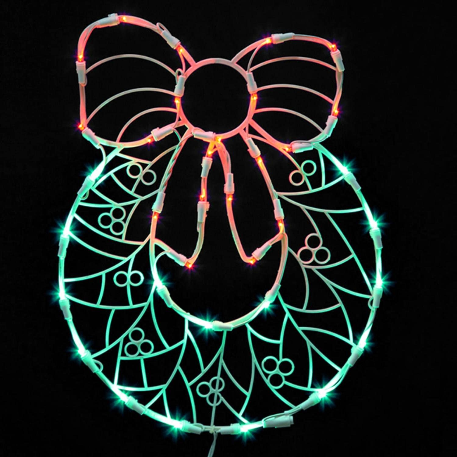 """Vickerman Lighted LED Wreath with Bow Christmas Window Silhouette Decoration, 17"""""""
