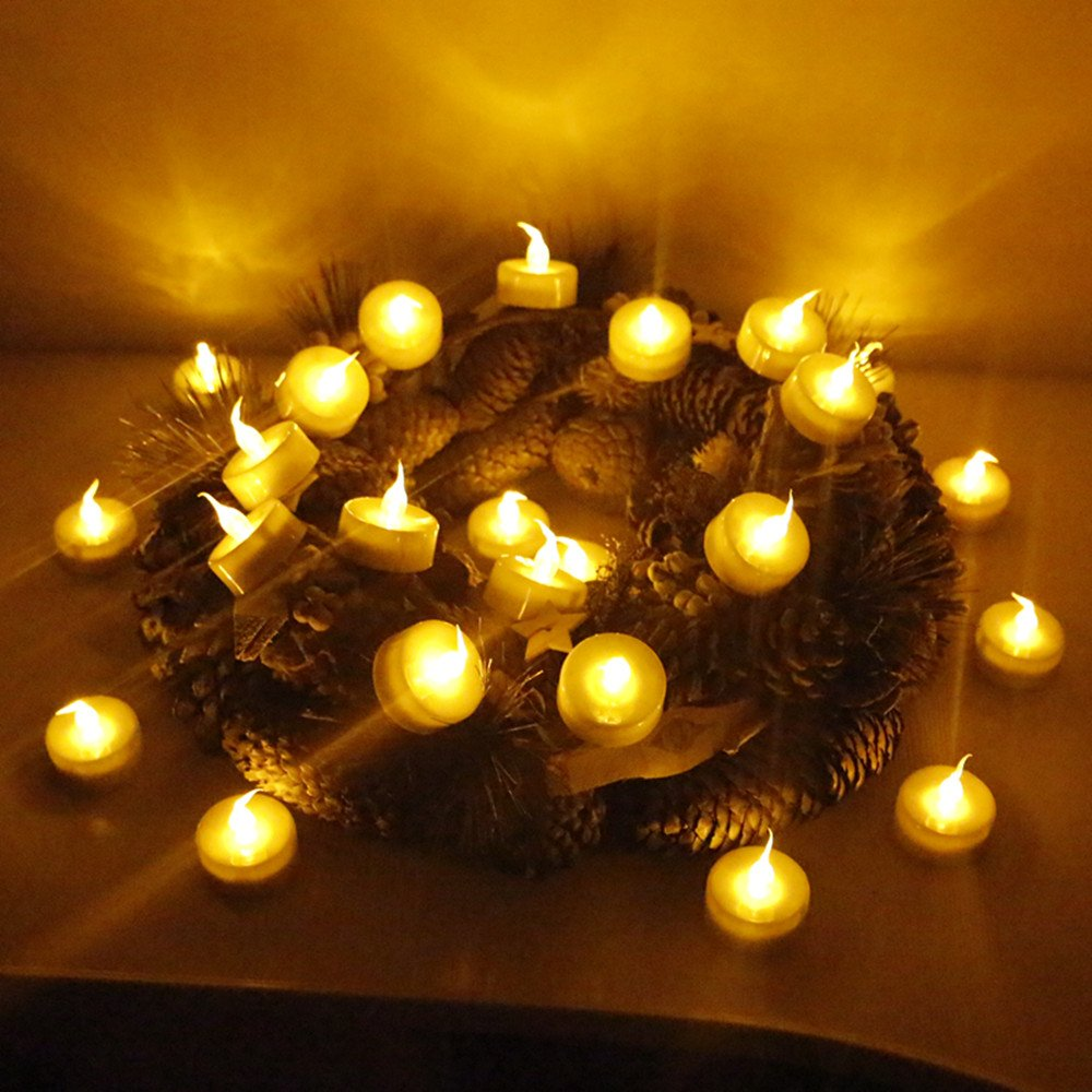 Topstone Tealight Candles with Flickering Amber Led Bulb and Timer,Remote Control,Electric Fake Candle Powered by High Capacity CR2450 Battery,Pack of 18