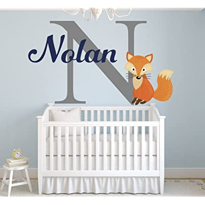 "Lovely Decals World LLC Fox Nursery Wall Decal Personalized Boys Name Art Sticker Nursery Decor Vinyl LD48 (28"" W x 18"" H): Home & Kitchen"