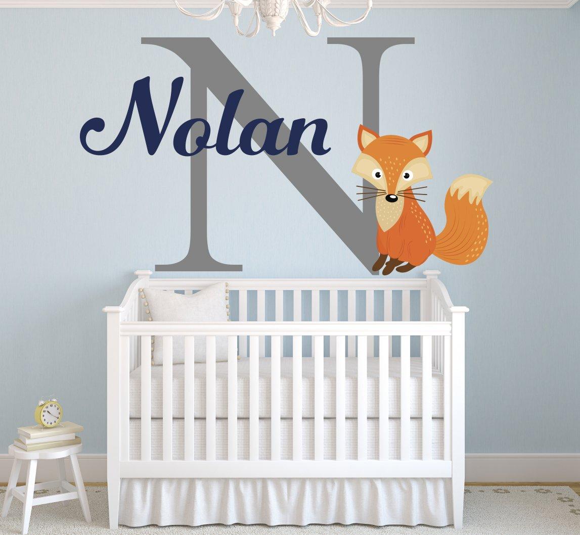 "Lovely Decals World LLC Fox Nursery Wall Decal Personalized Boys Name Art Sticker Nursery Decor Vinyl LD48 (42"" W x 24"" H)"